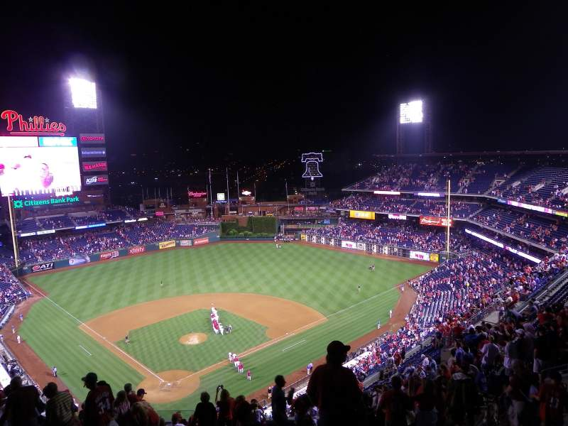Seating view for Citizens Bank Park Section 419 Row 16 Seat 1