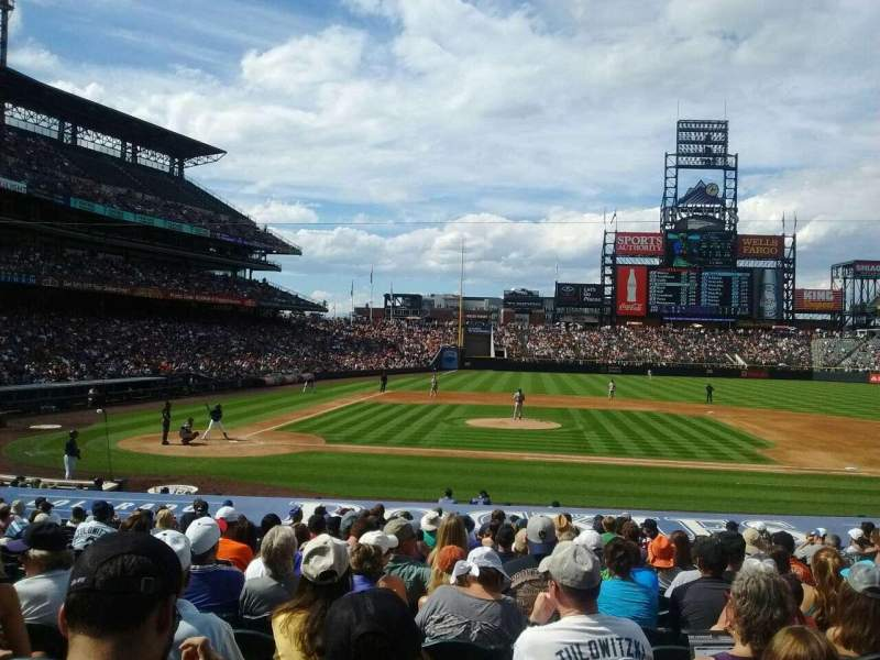 Seating view for Coors Field Section 124 Row 22 Seat 8