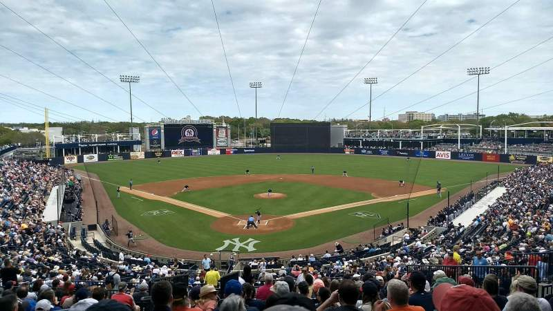 Seating view for George M. Steinbrenner Field Section 210 Row O Seat 22