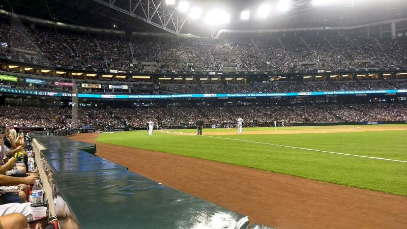 Seating view for Chase Field Section 111 Row 1 Seat 20