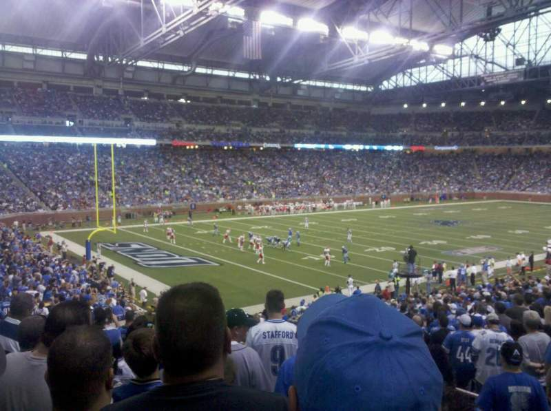 Seating view for Ford Field Section 100 Row 29 Seat 18