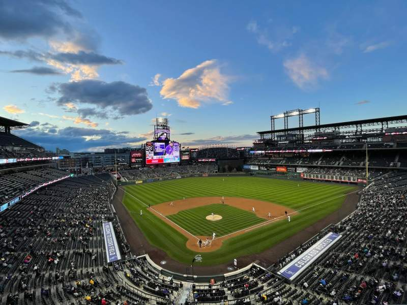 Seating view for Coors Field Section L329 Row 1 Seat 14