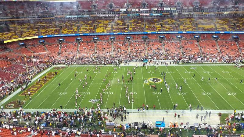 Seating view for FedEx Field Section 401 Row 1 Seat 15