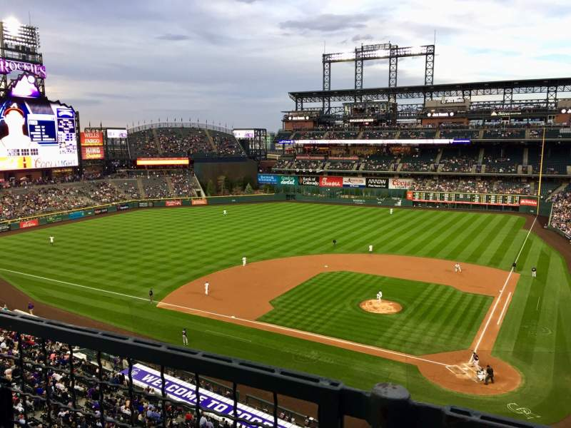 Seating view for Coors Field Section L334 Row 1 Seat 10