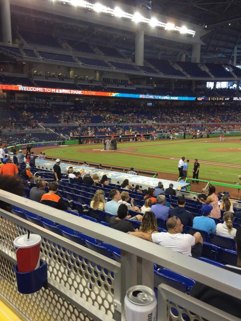 Seating view for Marlins Park Section 8 Row 1 Seat 8