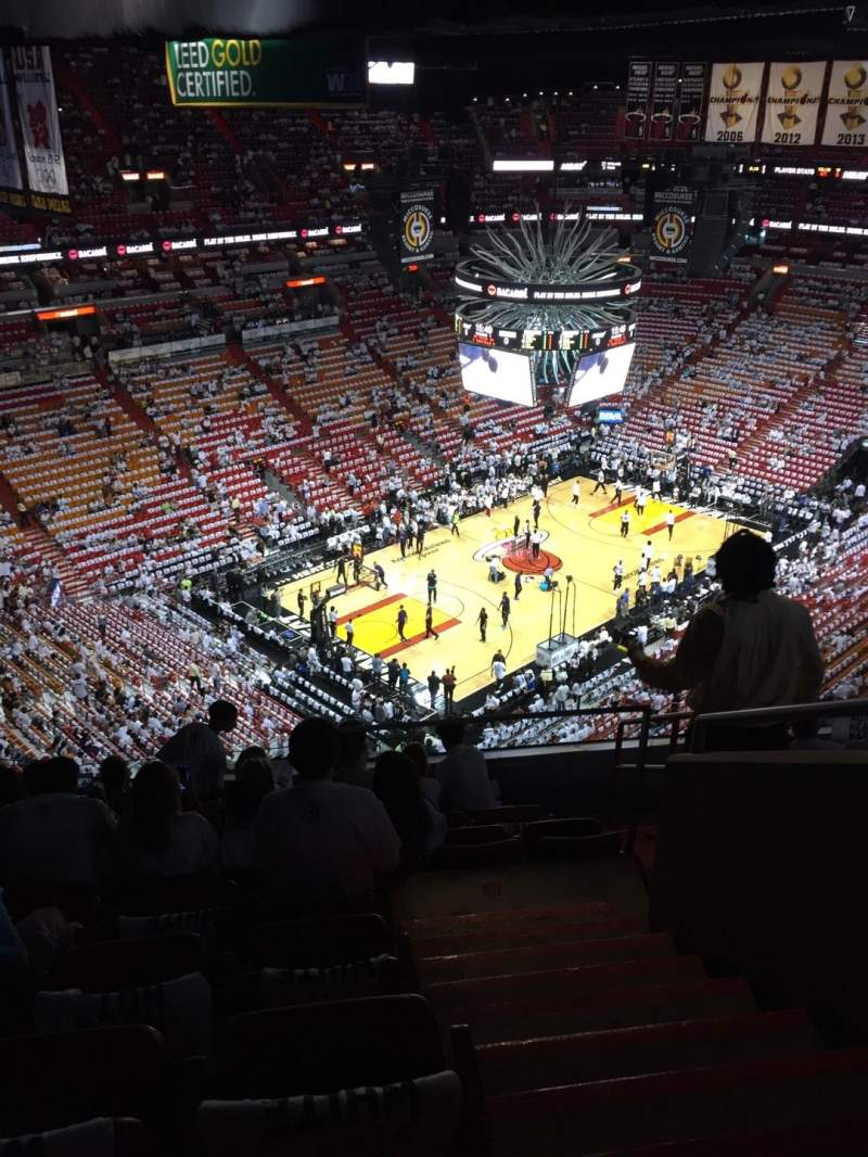 Seating view for American Airlines Arena Section 402 Row 8 Seat 1