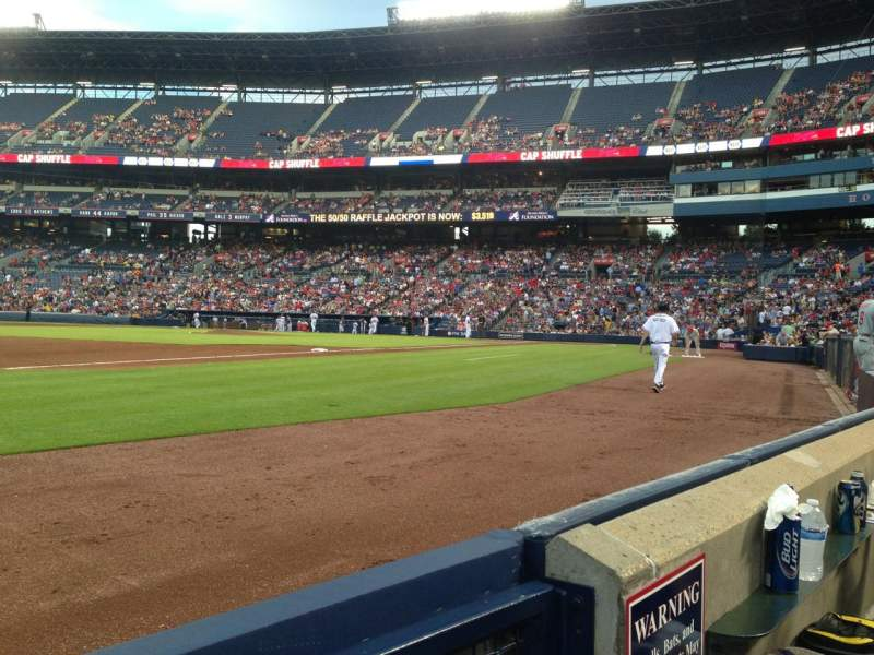 Seating view for Turner Field Section 120 Row 1 Seat 1