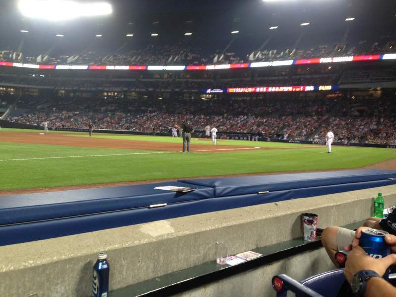Seating view for Turner Field Section 120L Row 2 Seat 8