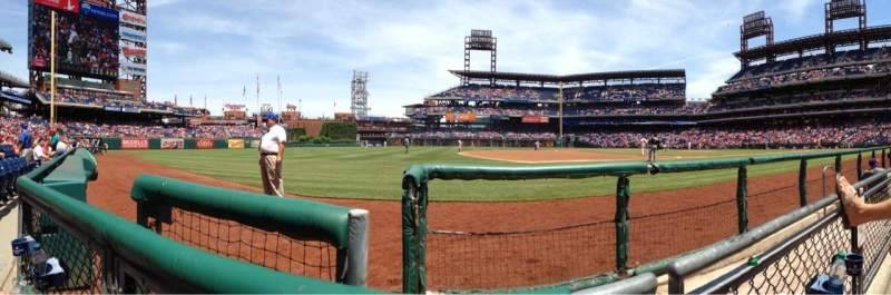 Seating view for Citizens Bank Park Section 133 Row 1 Seat 4