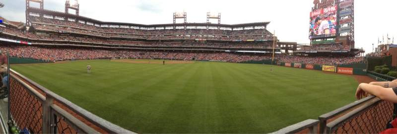 Seating view for Citizens Bank Park Section 102 Row 1 Seat 18