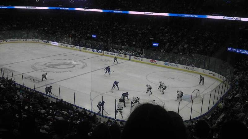 Seating view for Amalie Arena Section 212 Row E Seat 8