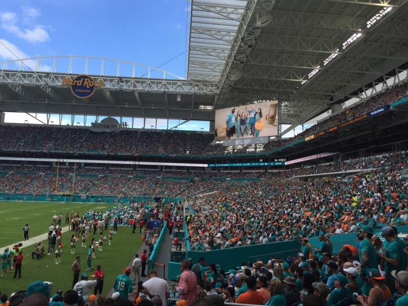 Seating view for Hard Rock Stadium Section 101 Row 15 Seat 10