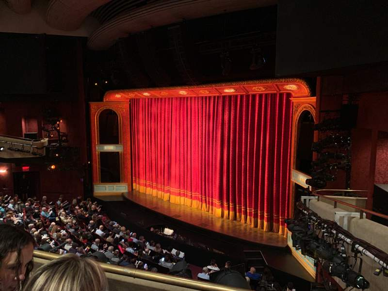 Seating view for Marquis Theatre Section Mezzanine R Row B Seat 22