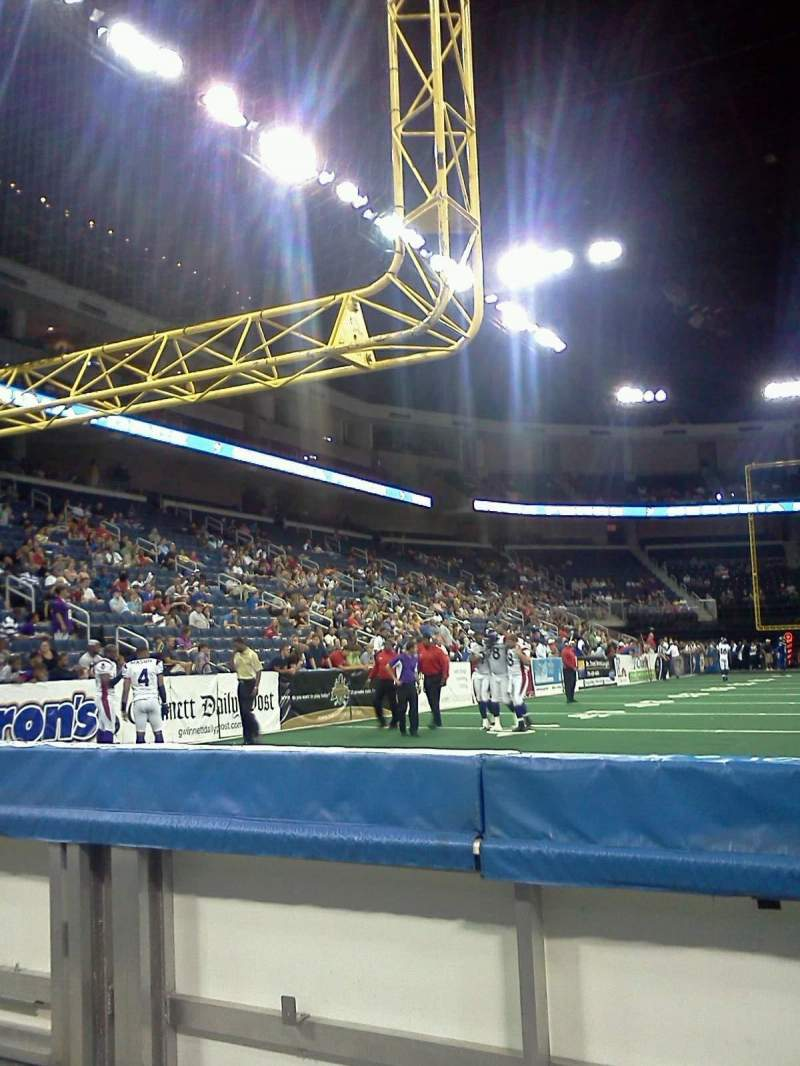Seating view for Infinite Energy Arena Section 100 Row 1 Seat 8