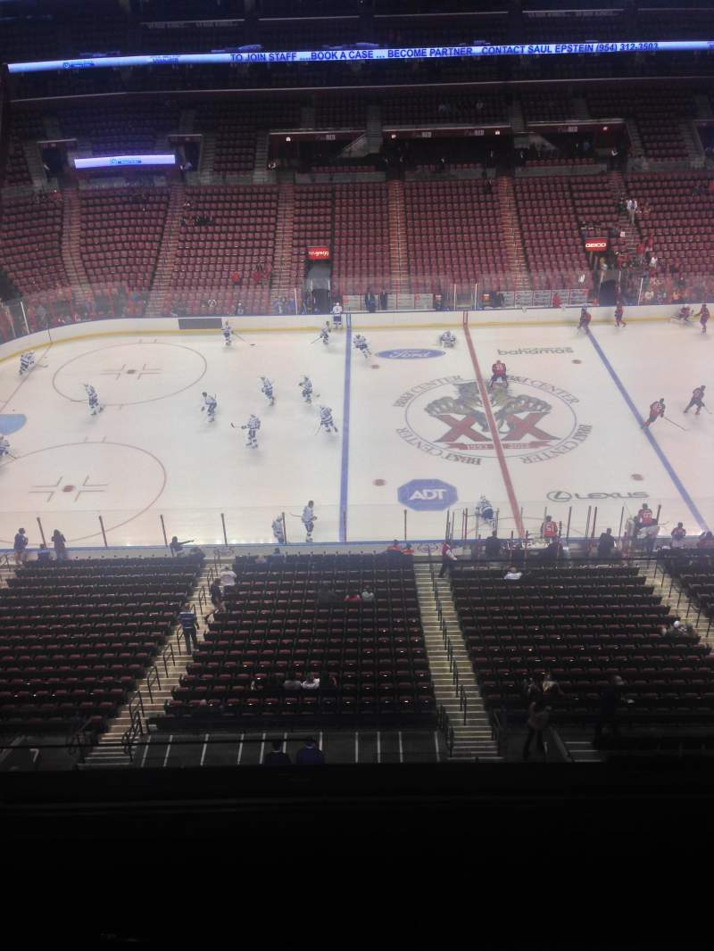 Seating view for BB&T Center Section 419 Row 2 Seat 1