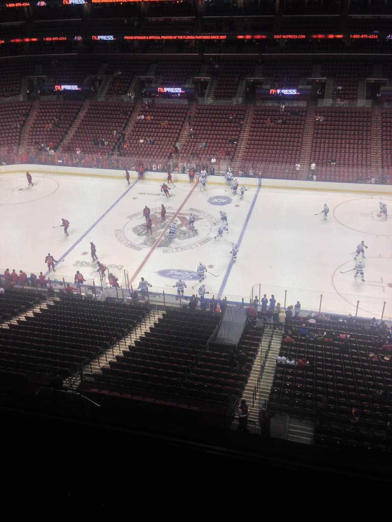 Seating view for BB&T Center Section 434 Row 2 Seat 1