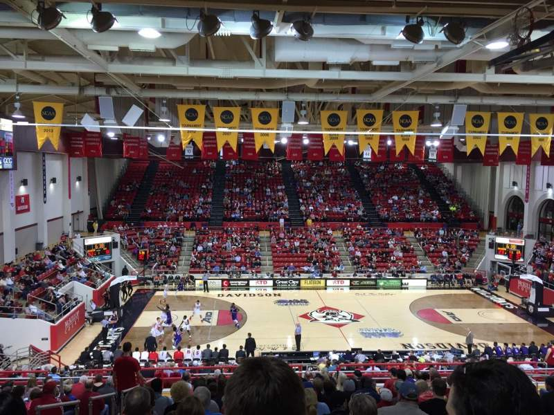 Seating view for John M. Belk Arena Section 108 Row X Seat 15