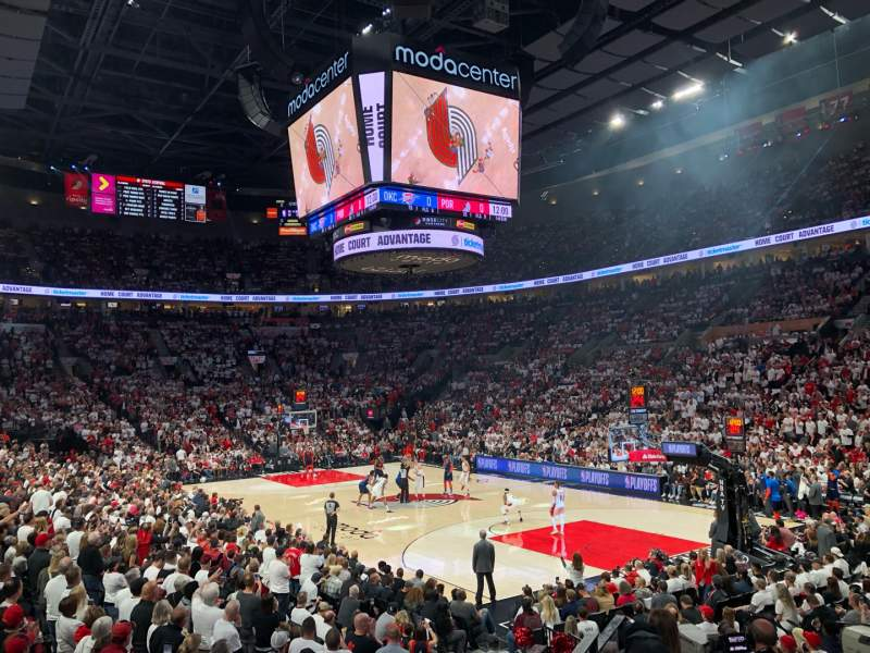 Seating view for Moda Center Section 109 Row J Seat 1