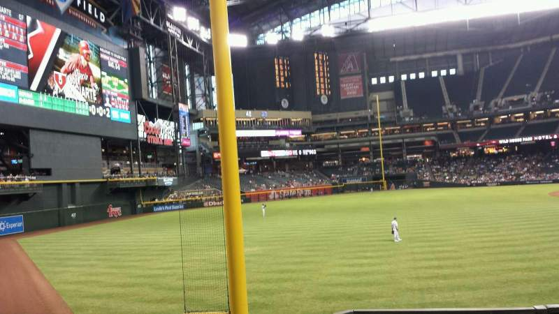 Seating view for Chase Field Section 136 Row 26 Seat 18