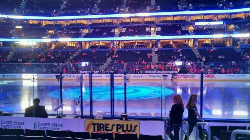 Seating view for Amalie Arena Section 116 Row H Seat 1