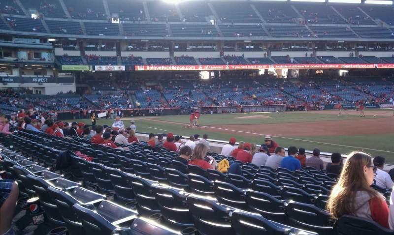 Seating view for Angel Stadium Section F129 Row k Seat 1