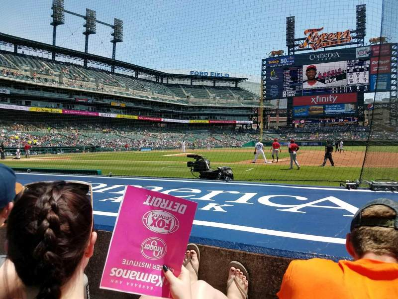Seating view for Comerica Park Section 120 Row 8 Seat 1