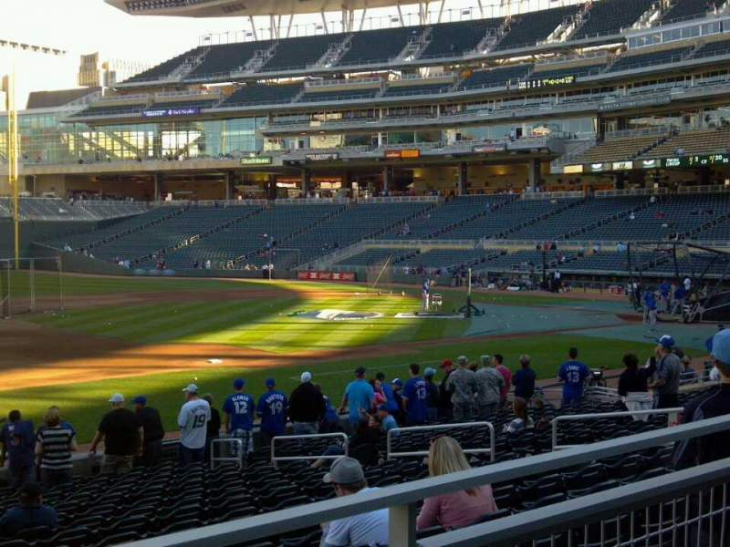 Seating view for Target Field Section 121 Row 2 Seat 21