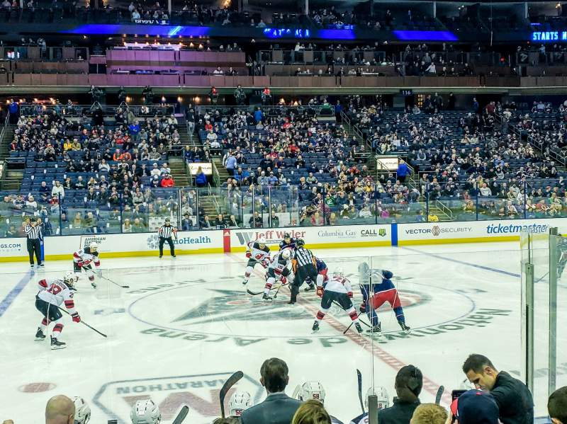 Seating view for Nationwide Arena Section 104 Row H Seat 10
