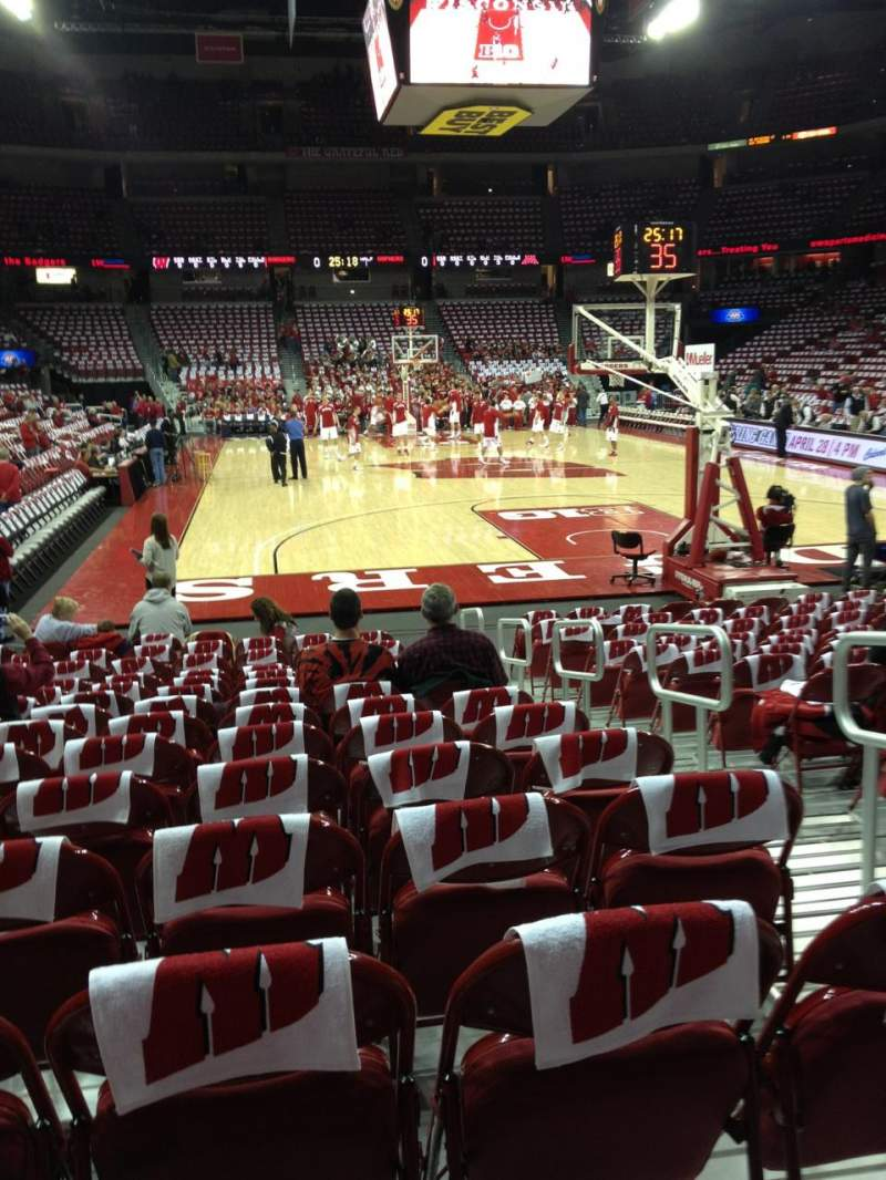Seating view for Kohl Center Section 102 Row A Seat 3
