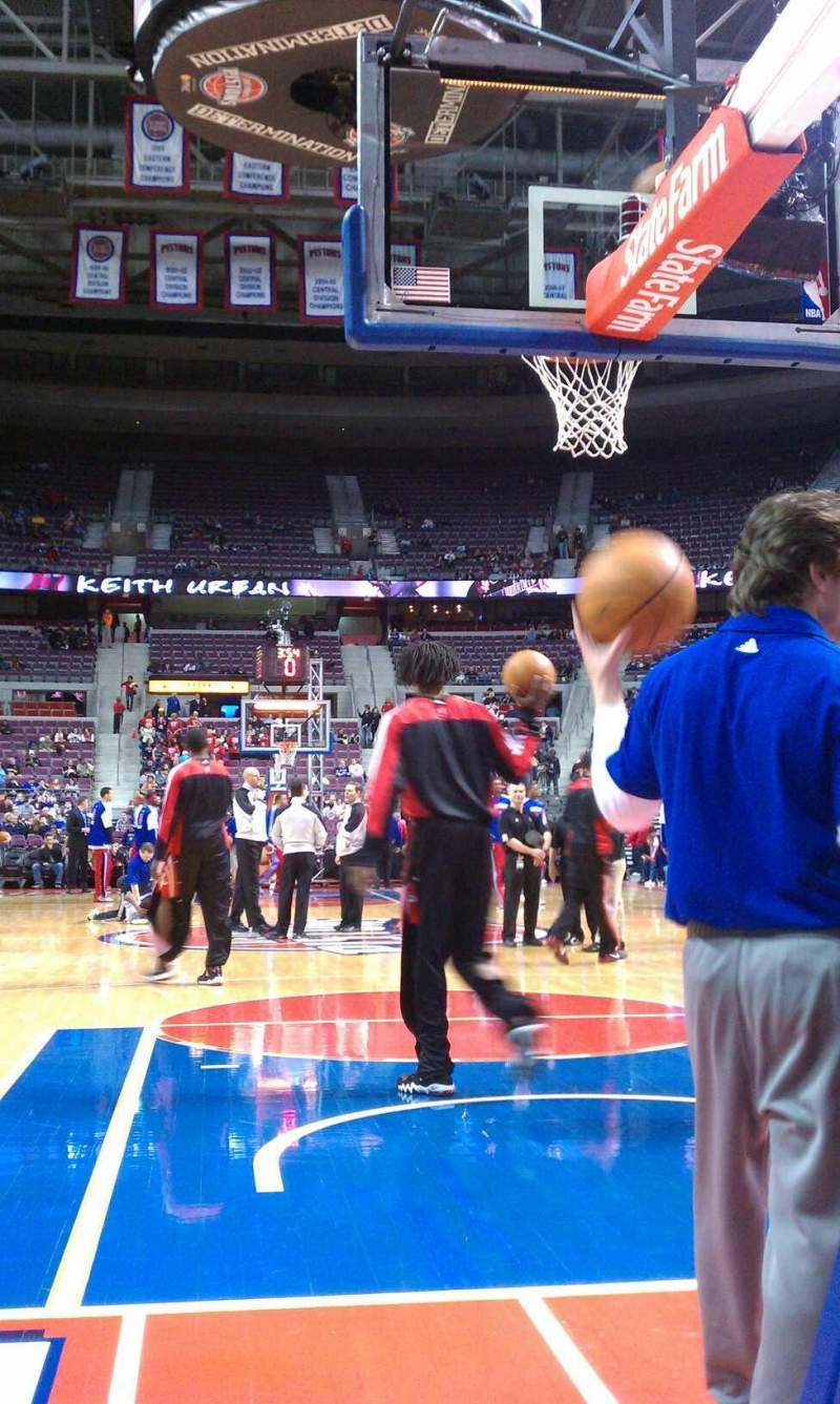 Seating view for The Palace of Auburn Hills Section 101 Row 1 Seat 4