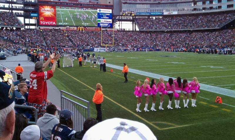 Seating view for Gillette Stadium Section 101 Row 4 Seat 1