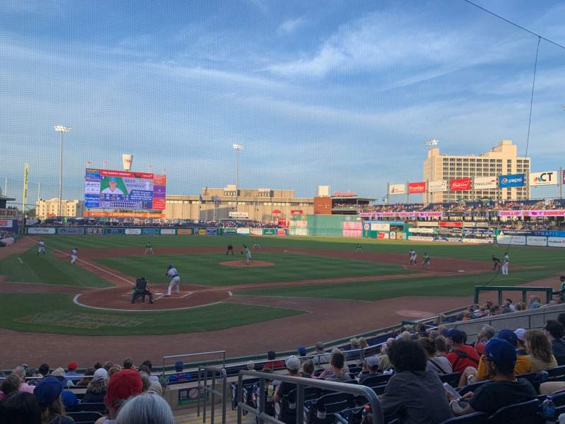 Seating view for Dunkin' Donuts Park Section 110 Row L Seat 1