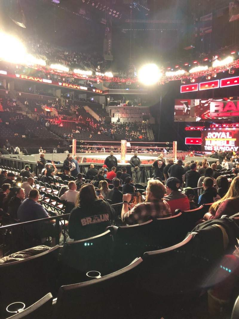 barclays center, section 9, row 4, seat 18 - wwe raw, shared by