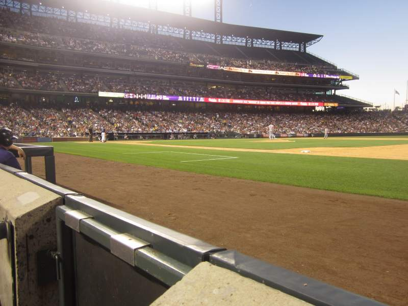 Seating view for Coors Field Section 120 Row 1 Seat 14