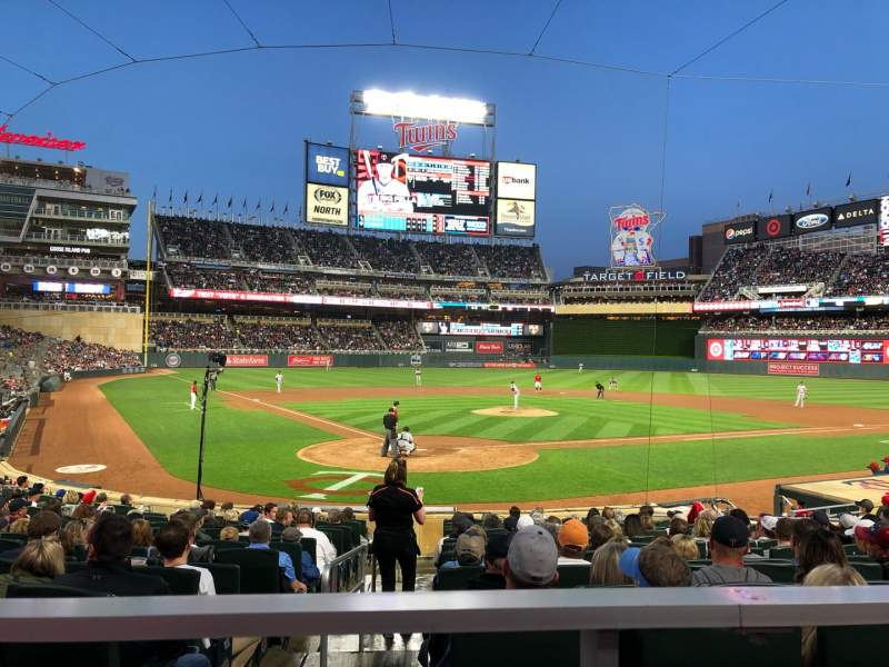 Seating view for Target Field Section 112 Row 1 Seat 5