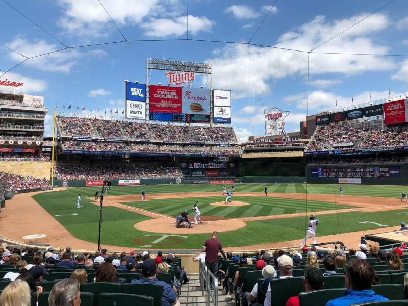Seating view for Target Field Section 112 Row 1 Seat 8