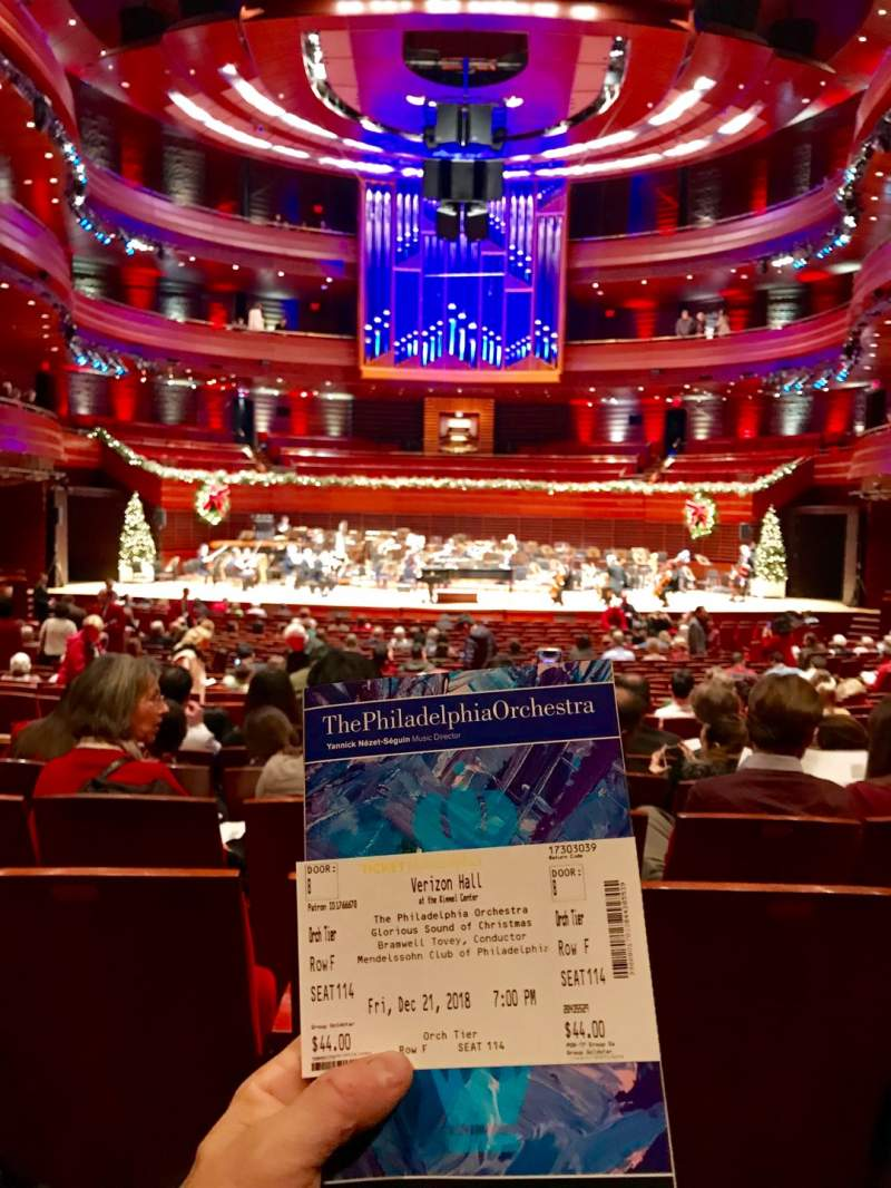 Seating view for Verizon Hall at the Kimmel Center Section Orch Tier Row F Seat 115