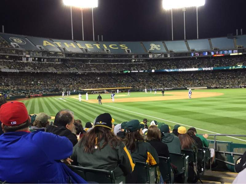 Seating view for Oakland Alameda Coliseum Section 104 Row 13 Seat 15
