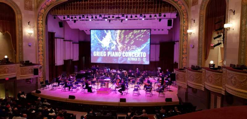 Seating view for Orchestra Hall Section Box Center Row J Seat 7