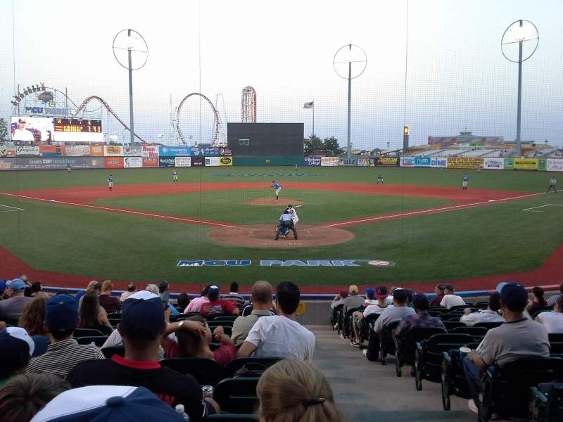 Seating view for MCU Park Section 1 Row P Seat 1