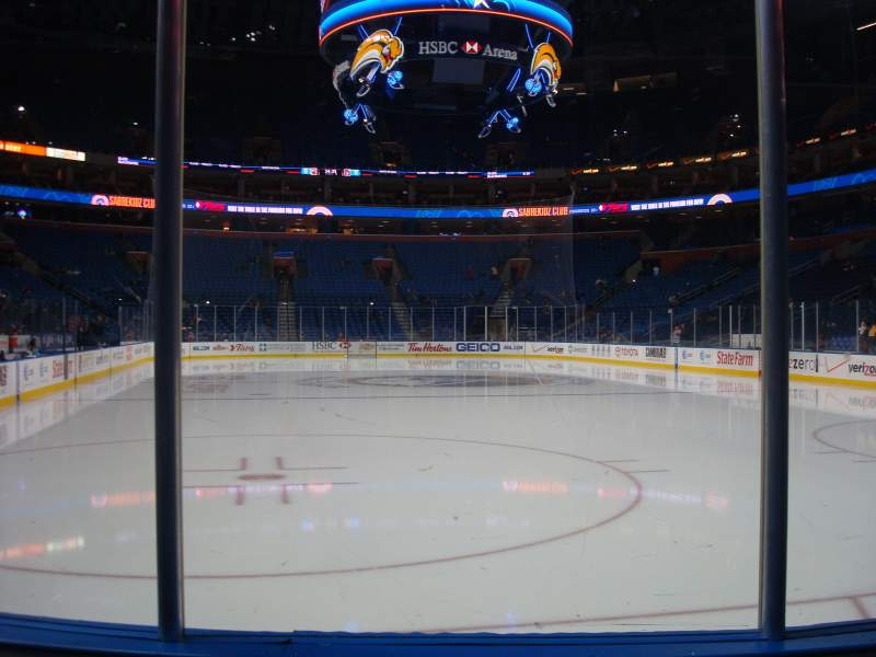 Seating view for KeyBank Center Section 100 Row 3 Seat 3