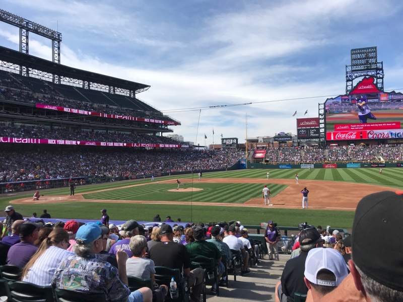 Seating view for Coors Field Section 121 Row 21 Seat 12