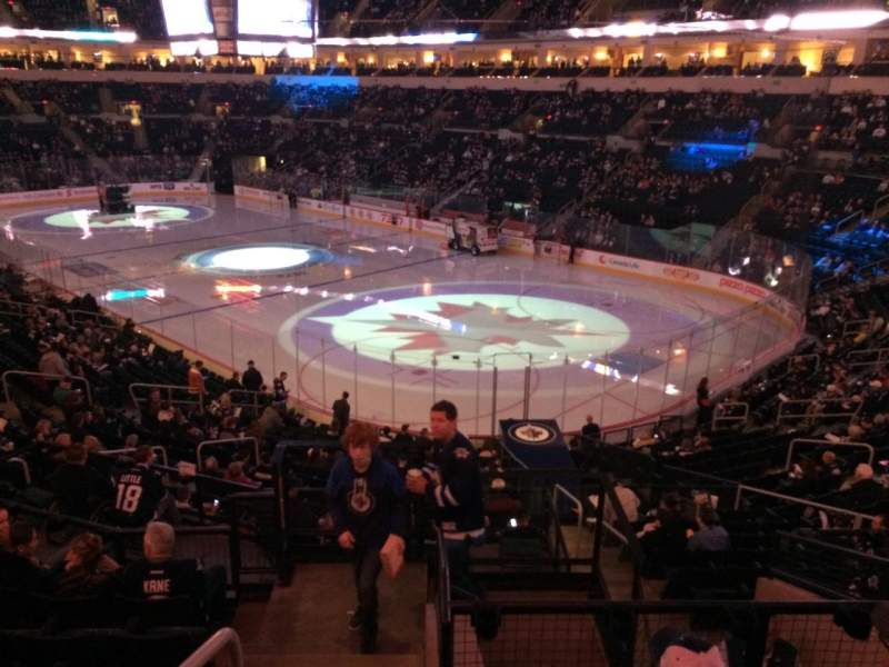 Seating view for Bell MTS Place Section 202 Row 7 Seat 15