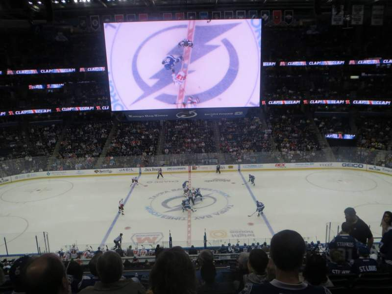 Seating view for Amalie Arena Section 201 Row H Seat 5