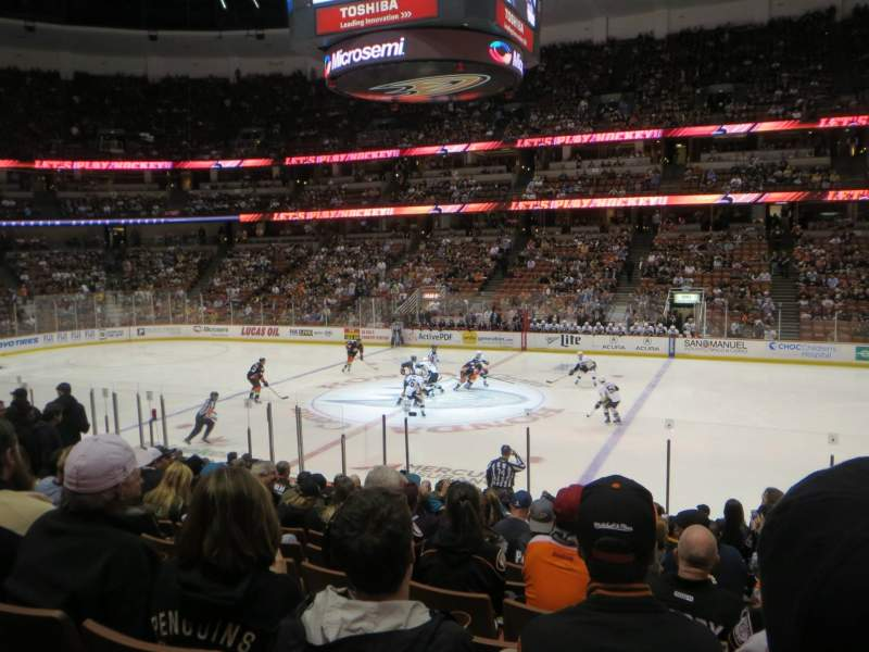 Seating view for Honda Center Section 221 Row Q Seat 2