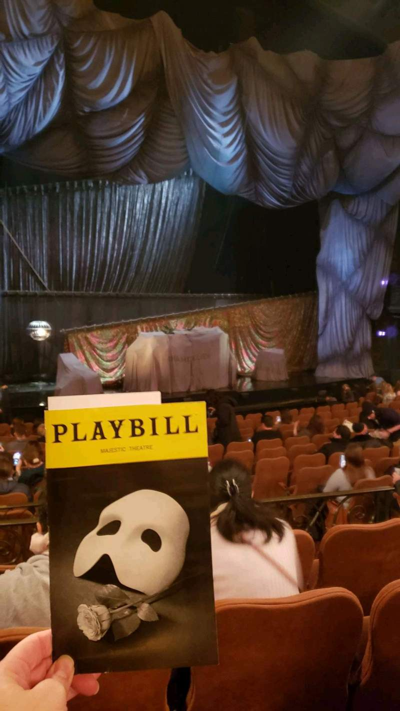 Seating view for Majestic Theatre Section orchestra l Row n Seat 11
