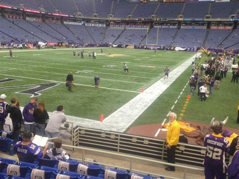 Seating view for Mall of America Field Section 116 Row 9 Seat 5,6,7