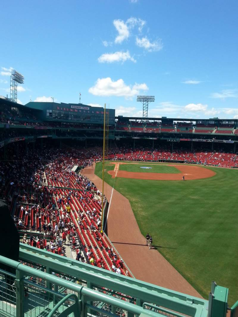 Seating view for Fenway Park Section Right Field Roof Deck Tables Row 2 Seat 1