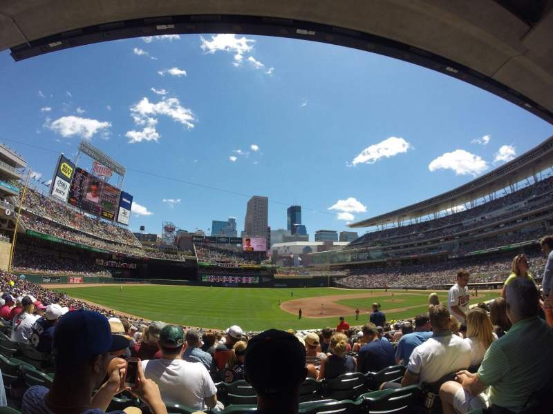 Seating view for Target Field Section 122 Row 18 Seat 5