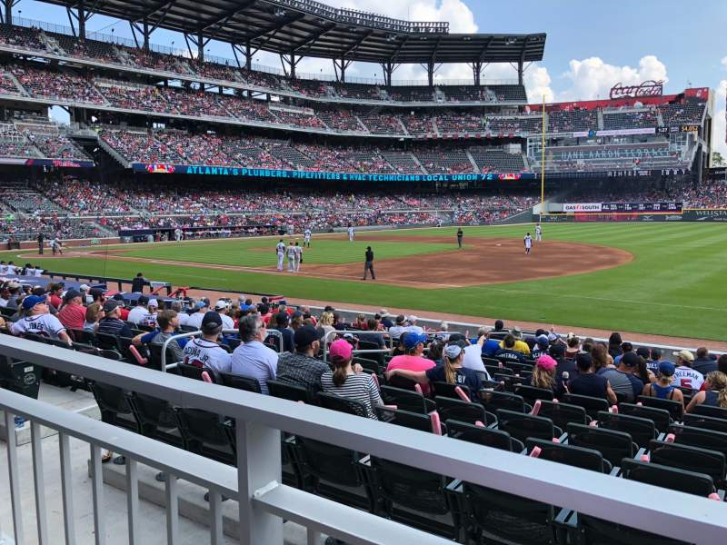 Seating view for SunTrust Park Section 114 Row 1 Seat 8